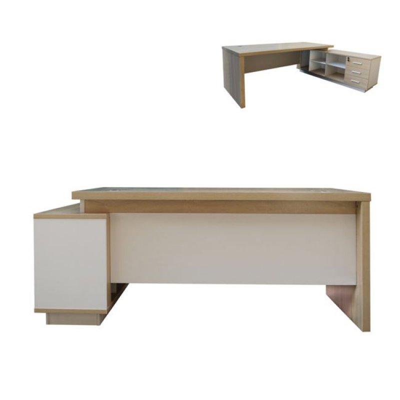 """Γραφείο """"ATLAS"""" δεξιά γωνία σε χρώμα σονόμα-λευκό 220x160x75"""
