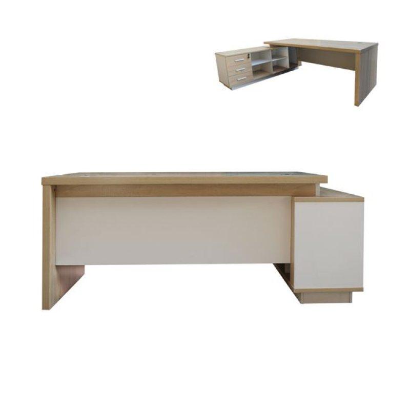 """Γραφείο """"ATLAS"""" αριστερή γωνία σε χρώμα σονόμα-λευκό 180x160x75"""