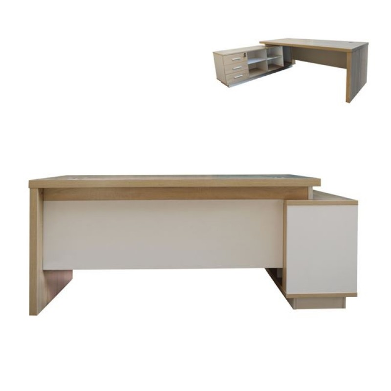 """Γραφείο """"ATLAS"""" αριστερή γωνία σε χρώμα σονόμα-λευκό 220x160x75"""