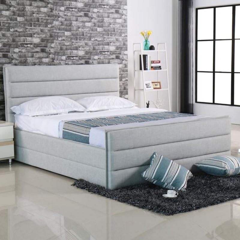 """Κρεβάτι  """"APOLLO"""" υπερδιπλό από ύφασμα σε sand-grey 192x218x116"""
