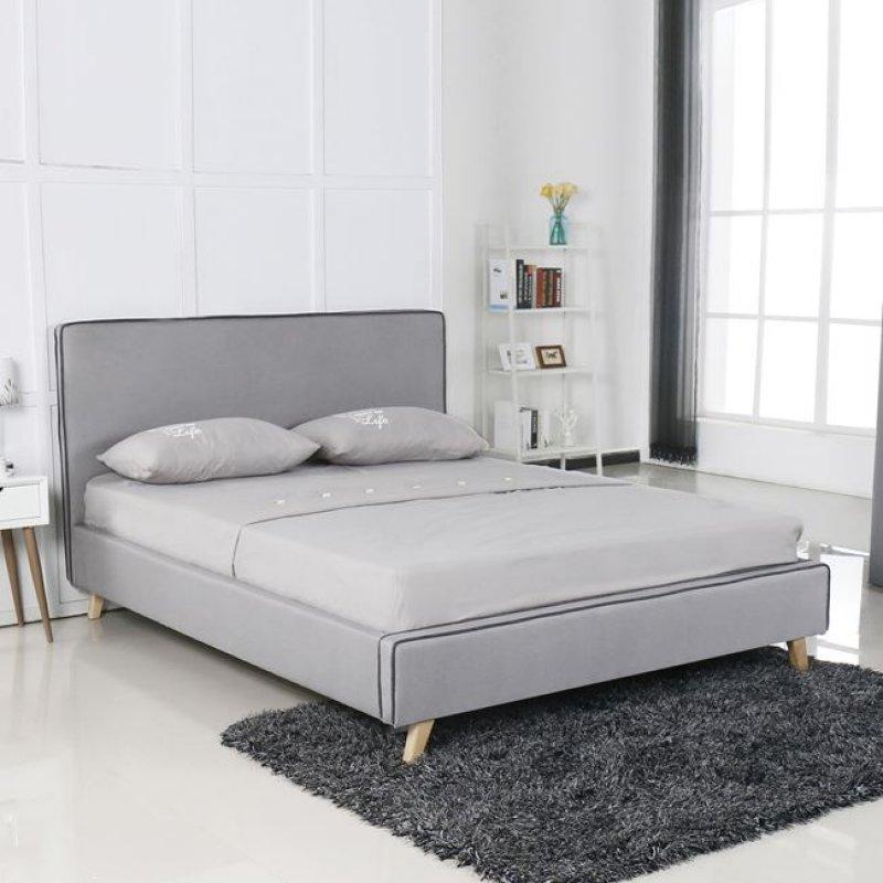 """Κρεβάτι """"MORISSON"""" διπλό από ύφασμα σε ανοικτό γκρι 171x216x108"""