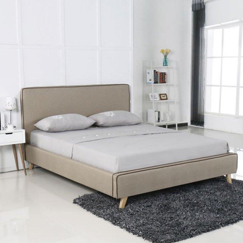 """Κρεβάτι """"MORISSON"""" διπλό από ύφασμα σε μπεζ χρώμα 171x216x108"""
