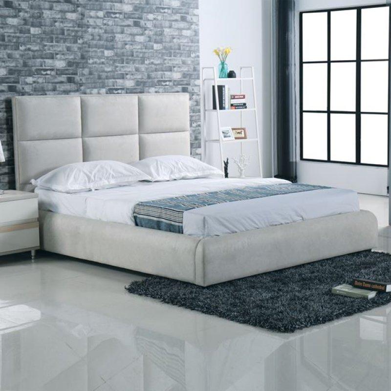 """Κρεβάτι """"MAXIM"""" διπλό από ύφασμα σε grey-stone 183x220x121"""