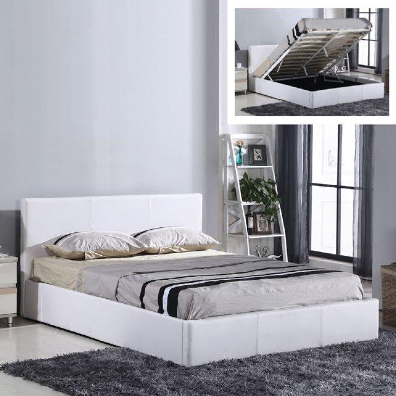 """Κρεβάτι """"WILTON"""" διπλό από τεχνόδερμα σε λευκό χρώμα 170x214x90"""