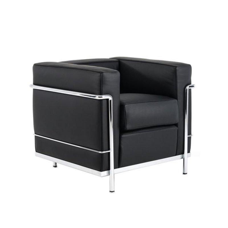 """Πολυθρόνα """"GENOVA"""" inox-pu σε μαύρο χρώμα 87x75x72"""