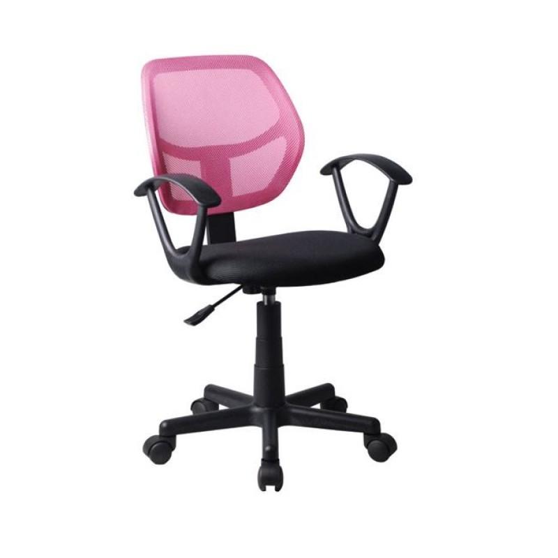 Πολυθρόνα εργασίας από ύφασμα mesh σε ροζ-μαύρο χρώμα 50x50x80/92