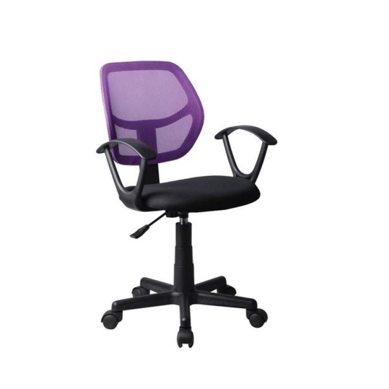 Πολυθρόνα εργασίας από ύφασμα mesh σε μωβ-μαύρο χρώμα 50x50x80/92