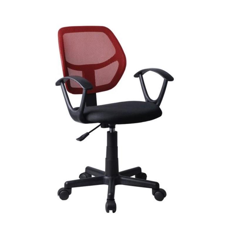 Πολυθρόνα εργασίας από ύφασμα mesh σε κόκκινο-μαύρο χρώμα 50x50x80/92