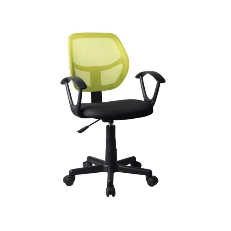 Πολυθρόνα εργασίας από ύφασμα mesh σε λαχανί-μαύρο χρώμα 50x50x80/92