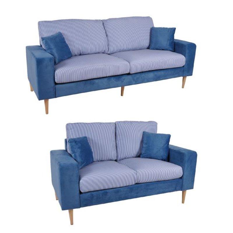 """Σετ καναπέδες """"DOLCE"""" υφασμάτινοι σε μπλε χρώμα 205x76x89"""
