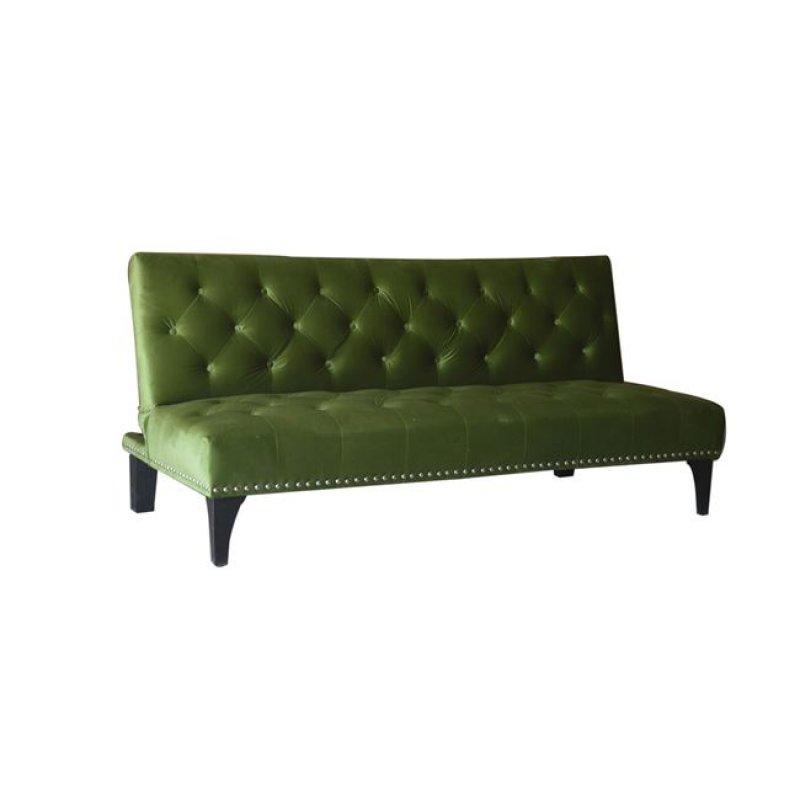 """Καναπές-κρεβάτι """"FRANCO"""" από ύφασμα σε χρώμα πράσινο velure 182x90x86"""