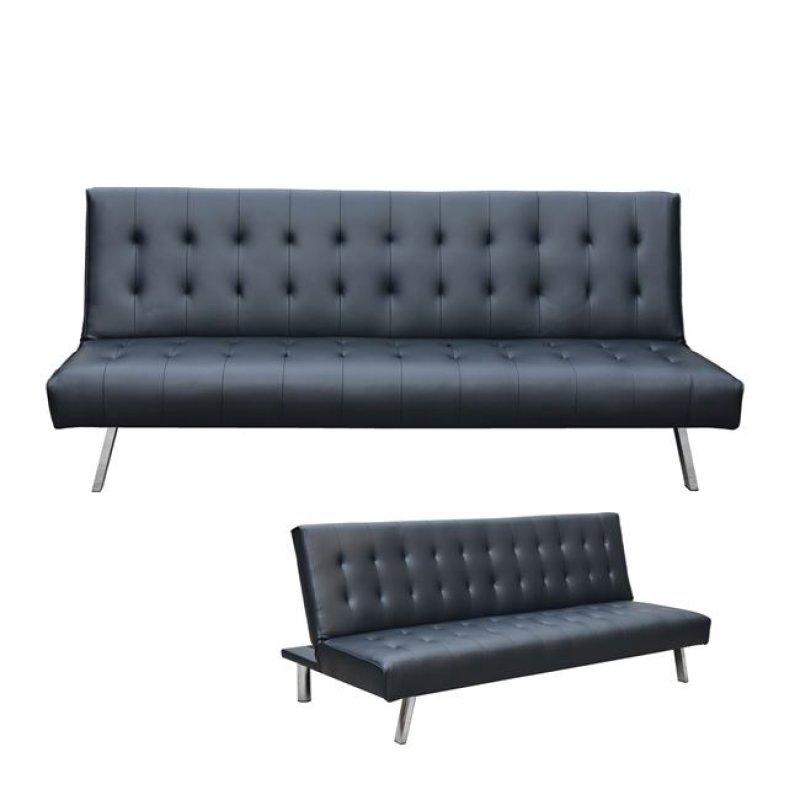 """Καναπές-κρεβάτι """"BONO"""" από τεχνόδερμα σε χρώμα μαύρο 194x90x82"""
