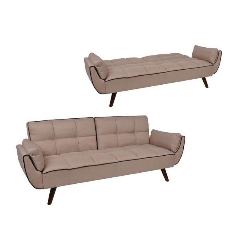 """Καναπές-κρεβάτι """"PABLO"""" από ύφασμα σε μπεζ χρώμα 210x89x84"""