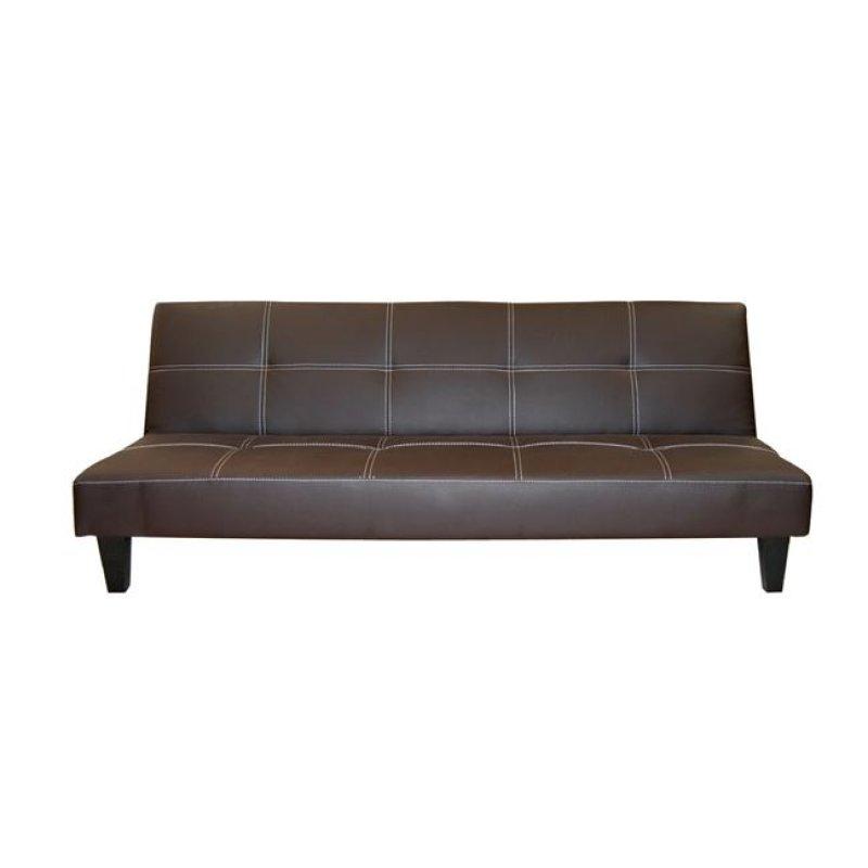 """Καναπές-κρεβάτι """"RONALDO"""" τριθέσιος από τεχνόδερμα σε καφέ χρώμα 186x75x72"""