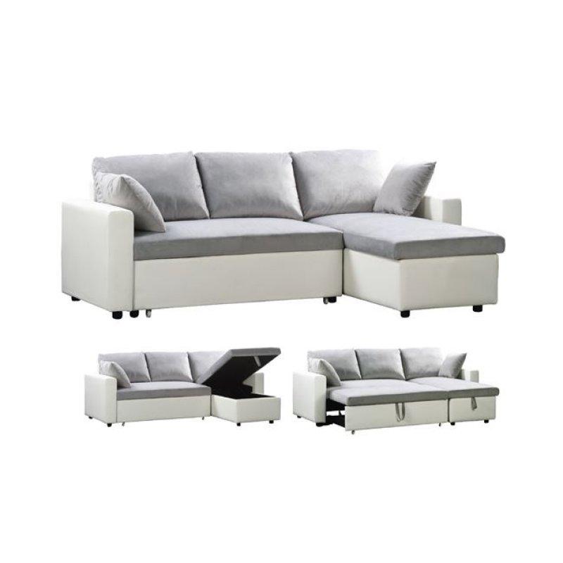 """Καναπές-κρεβάτι """"MONTREAL"""" γωνία αναστρέψιμος από τεχνόδερμα σε λευκό χρώμα 223x146x83"""