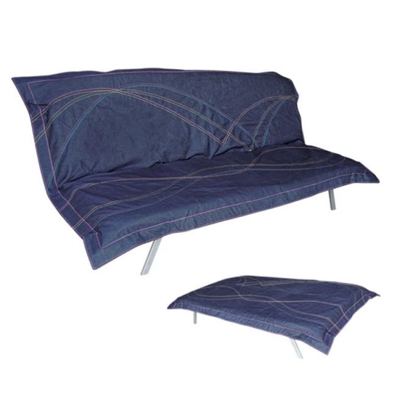 """Καναπές-κρεβάτι """"PIERO"""" τριθέσιος υφασμάτινος σε χρώμα μπλε 182x80x78"""