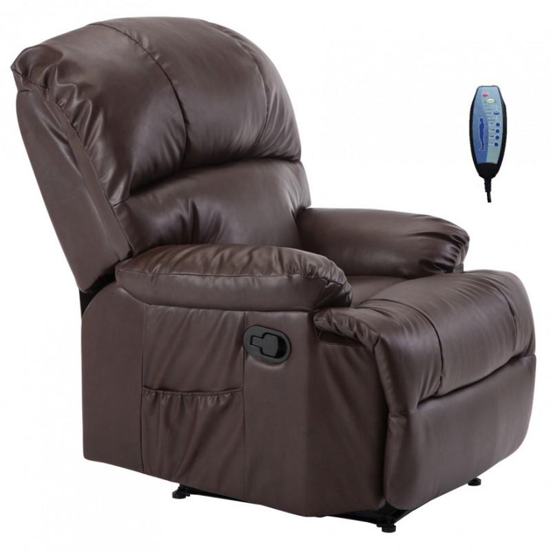 """Πολυθρόνα """"SPACE"""" massage από τεχνόδερμα σε καφέ χρώμα 88x93x102"""