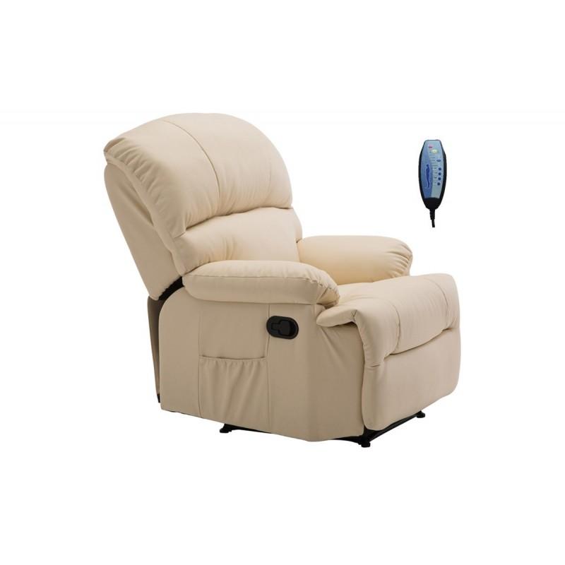 """Πολυθρόνα """"SPACE"""" massage από τεχνόδερμα σε χρώμα μπέζ 88x93x102"""