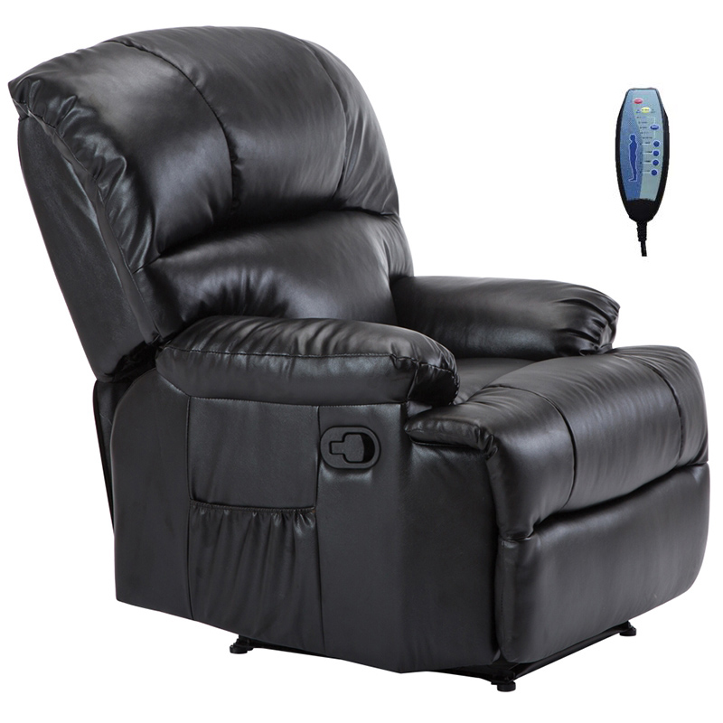 """Πολυθρόνα """"SPACE"""" massage από τεχνόδερμα σε μαύρο χρώμα 88x93x102"""