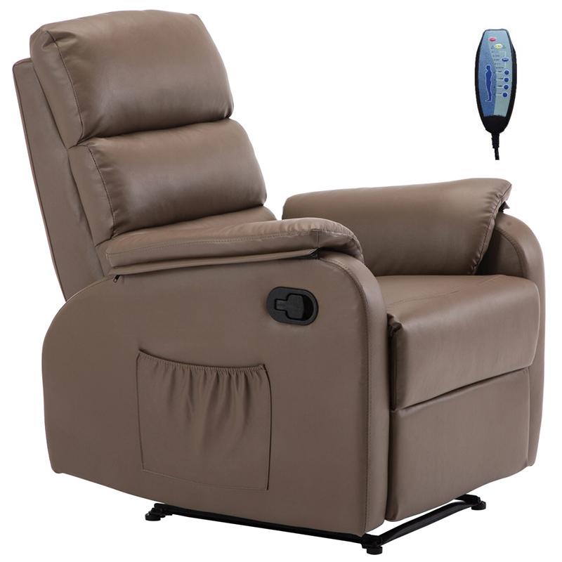 """Πολυθρόνα """"COMFORT"""" massage relax από τεχνόδερμα σε χρώμα cappuccino 79x97x101"""