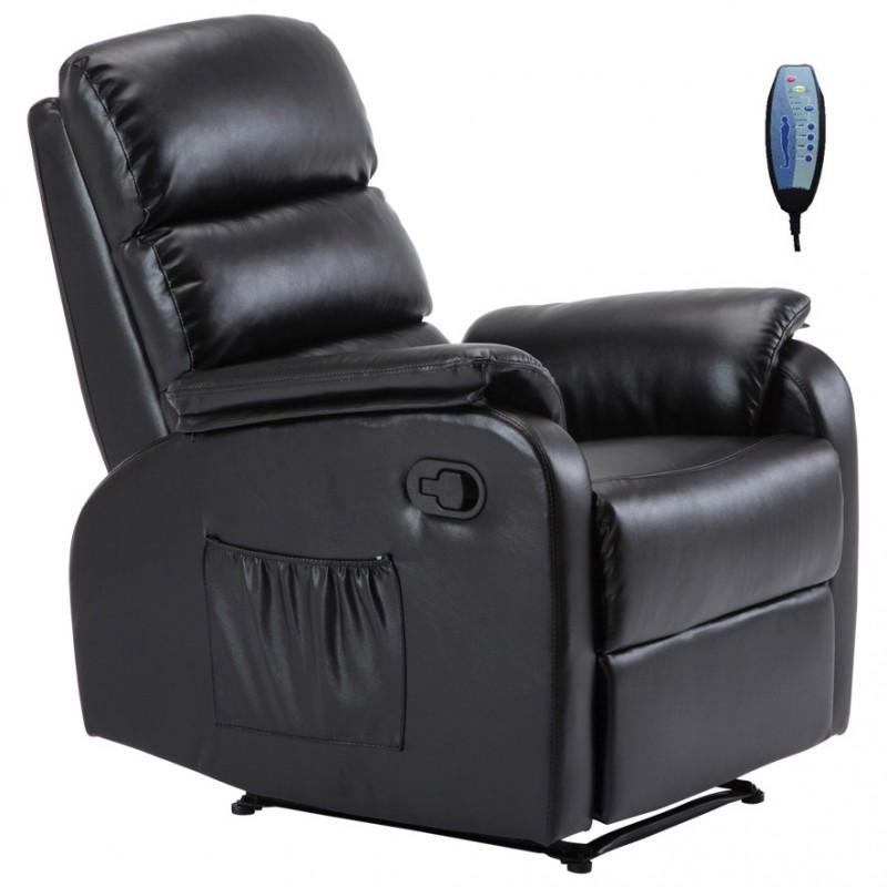 """Πολυθρόνα """"COMFORT"""" massage relax από τεχνόδερμα σε χρώμα μαύρο 79x97x101"""