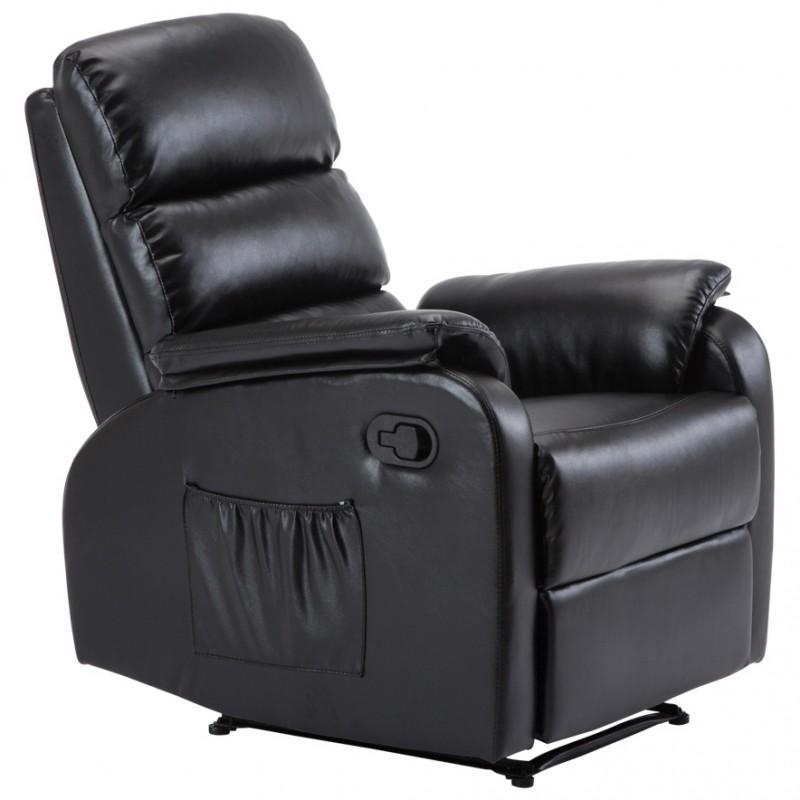 """Πολυθρόνα """"COMFORT"""" relax από τεχνόδερμα σε χρώμα μαύρο 79x97x101"""