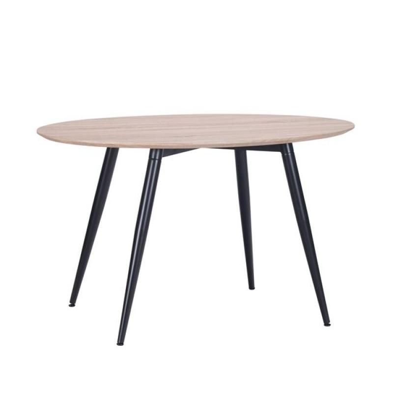 """Τραπέζι """"LEON"""" οβάλ μεταλλικό με επιφάνεια σε χρώμα σονόμα 130x80x75"""