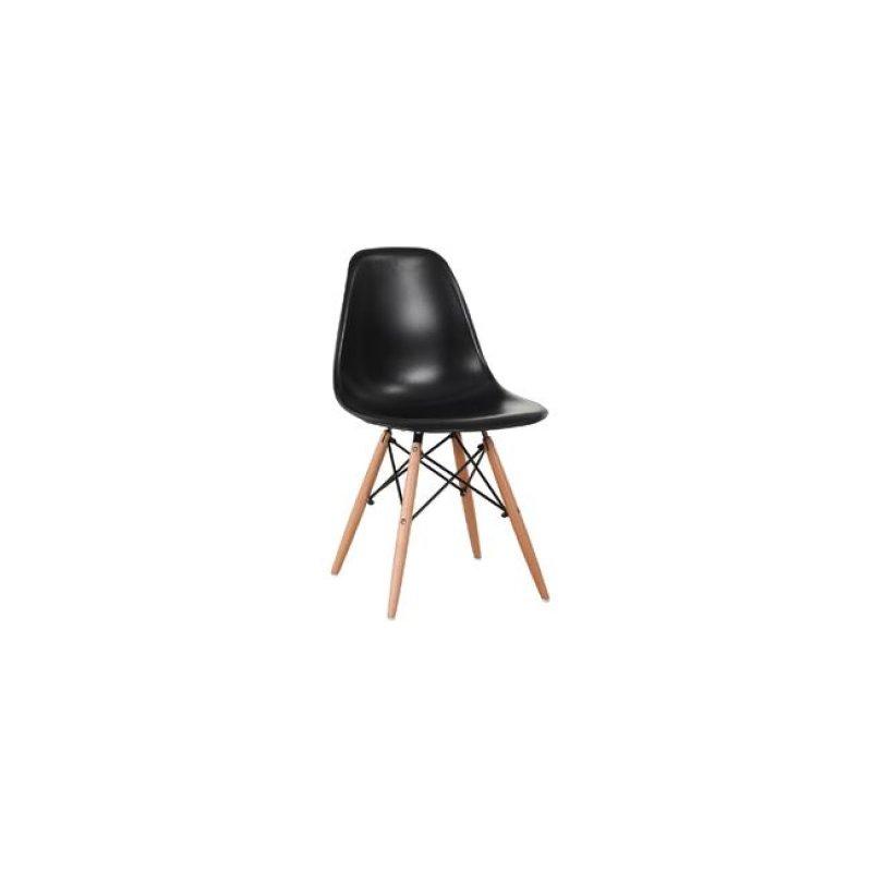 """Καρέκλα """"ART WOOD"""" ξύλινη-pp σε μαύρο χρώμα 46x52x82"""