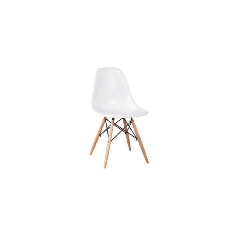 """Καρέκλα """"ART WOOD"""" ξύλινη-pp σε λευκό χρώμα 46x52x82"""