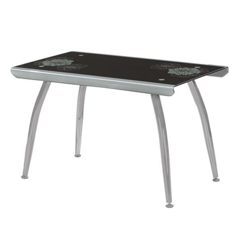 """Τραπέζι """"RIVA"""" μεταλλικό σε ασημί χρώμα με γυάλινη επιφάνεια 120x70x75"""