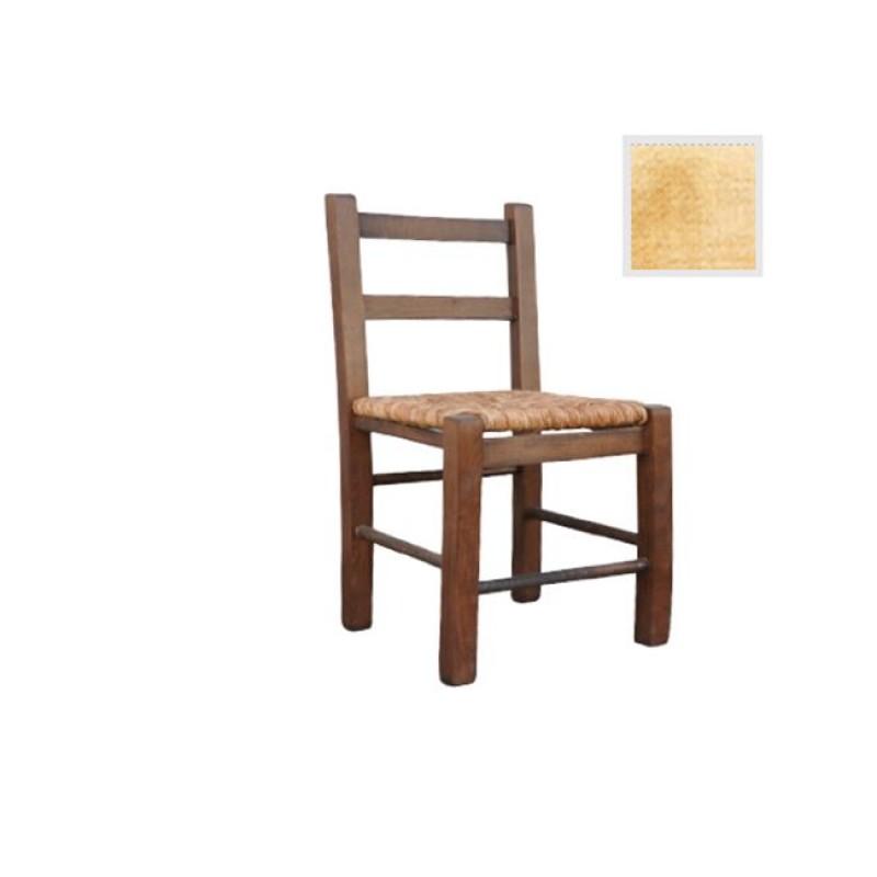 """Καρέκλα """"ΣΙΦΝΟΣ"""" χαμηλή με ψάθα σε χρώμα καρυδί 33x37x65"""
