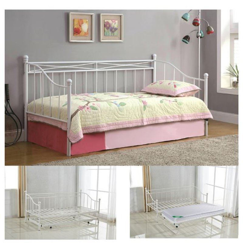 """Κρεβάτι """"MARIN"""" μονό επεκτ/νο μεταλλικό σε λευκό χρώμα 97x198x93"""