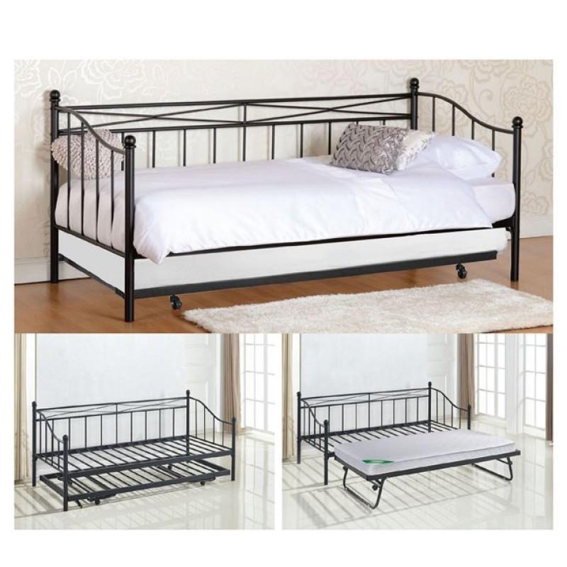 """Κρεβάτι """"MARIN"""" μονό επεκτ/νο μεταλλικό σε χρώμα μαύρο 97x198x93"""