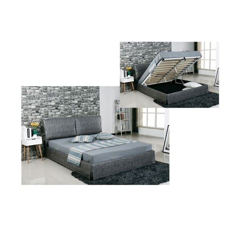 """Κρεβάτι """"TELCO"""" διπλό με αποθηκευτικό χώρο σε γκρι χρώμα 172x219x98"""