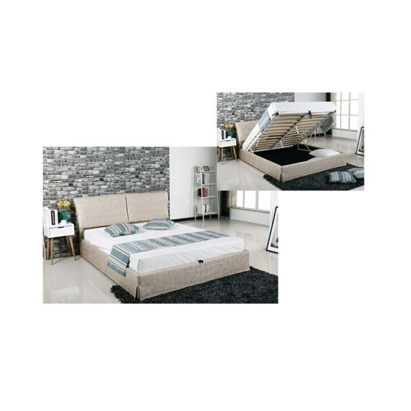 """Κρεβάτι """"TELCO"""" διπλό με αποθηκευτικό χώρο σε μπεζ χρώμα 172x219x98"""