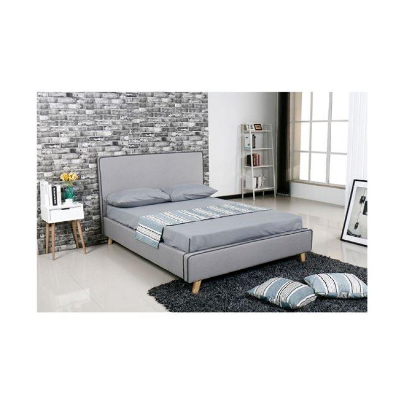 """Κρεβάτι """"MORISSON"""" διπλό σε ανοιχτό γκρι χρώμα 151x206x110"""