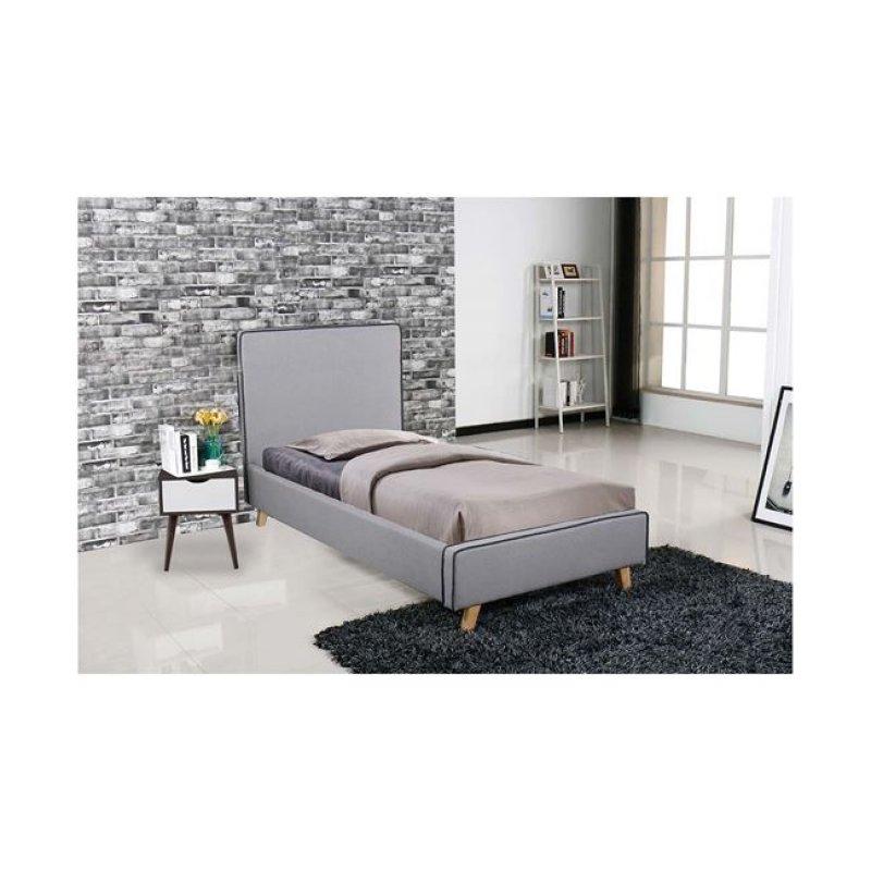 """Κρεβάτι """"MORISSON"""" μονό σε χρώμα ανοιχτό γκρι 101x206x110"""