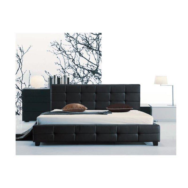 """Κρεβάτι """"FIDEL"""" διπλό από τεχνόδερμα σε μαύρο χρώμα 158x215x107"""