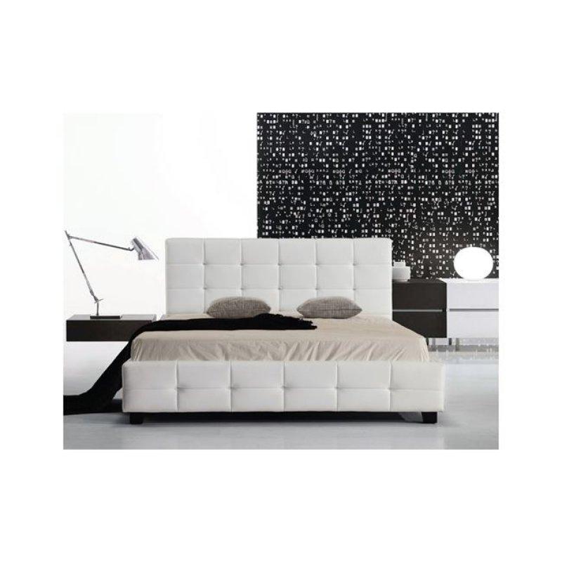 """Κρεβάτι """"FIDEL"""" διπλό από τεχνόδερμα σε χρώμα λευκό 158x215x107"""