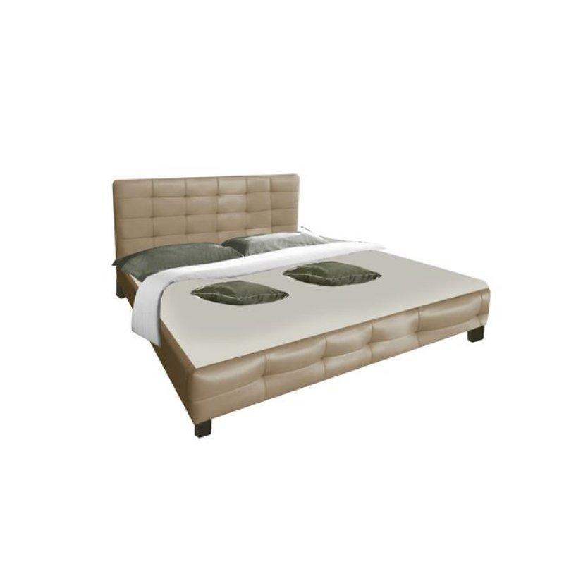 """Κρεβάτι """"DREAM"""" διπλό από τεχνόδερμα σε χρώμα cappuccino 168x218x95"""