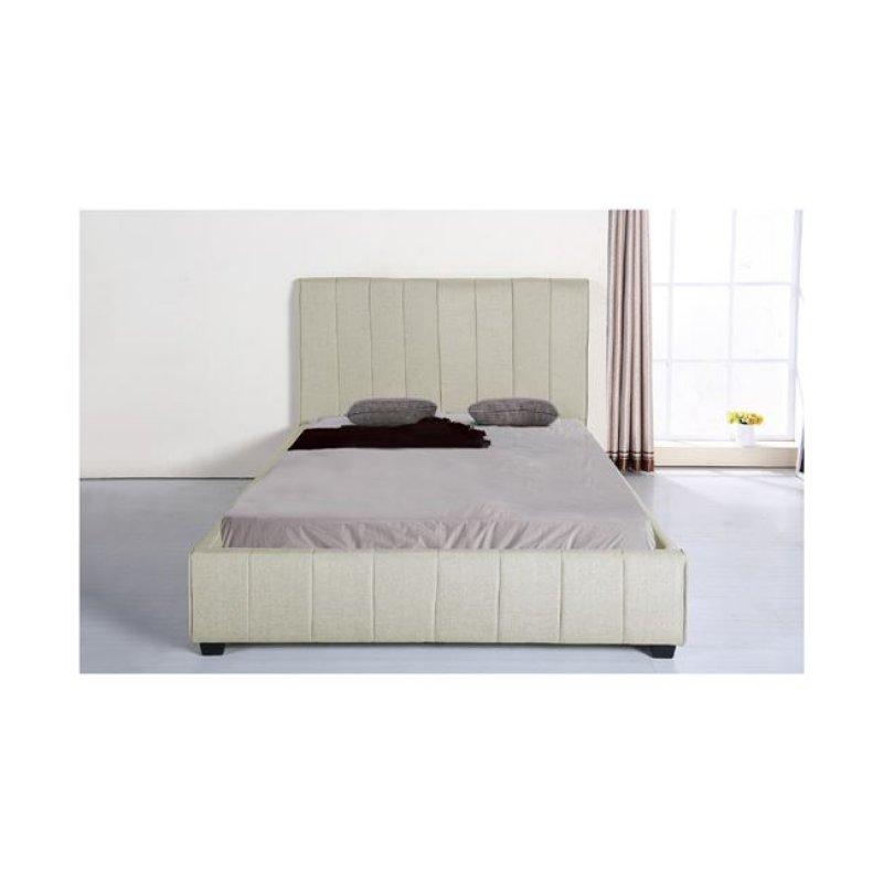 """Κρεβάτι """"LEXUS"""" διπλό από ύφασμα σε εκρού χρώμα 188x213x120"""