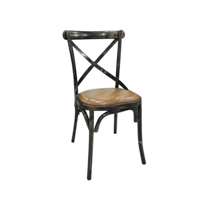 """Καρέκλα """"MARLIN"""" μεταλλική-pu σε χρώμα camel 45x42x90"""