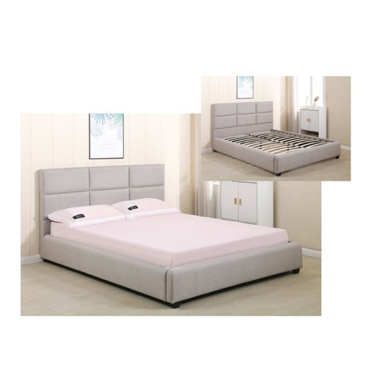 """Κρεβάτι """"MAXIM"""" διπλό από ύφασμα σε χρώμα μπεζ 173x217x101"""
