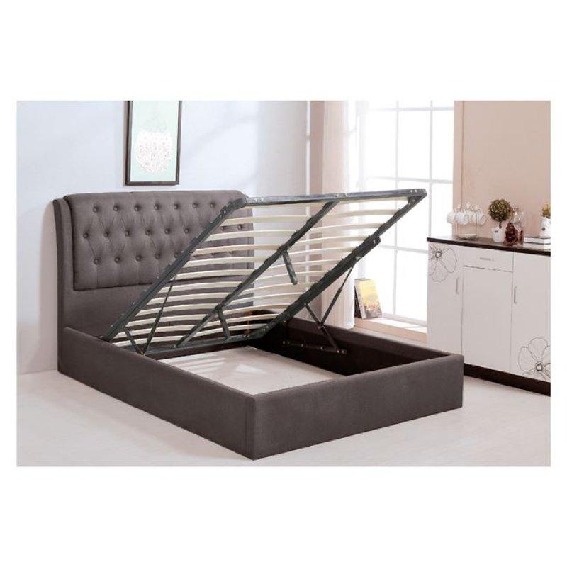 """Κρεβάτι """"MAXWELL"""" διπλό με αποθηκευτικό χώρο από ύφασμα σε χρώμα καφέ 166x221x104"""