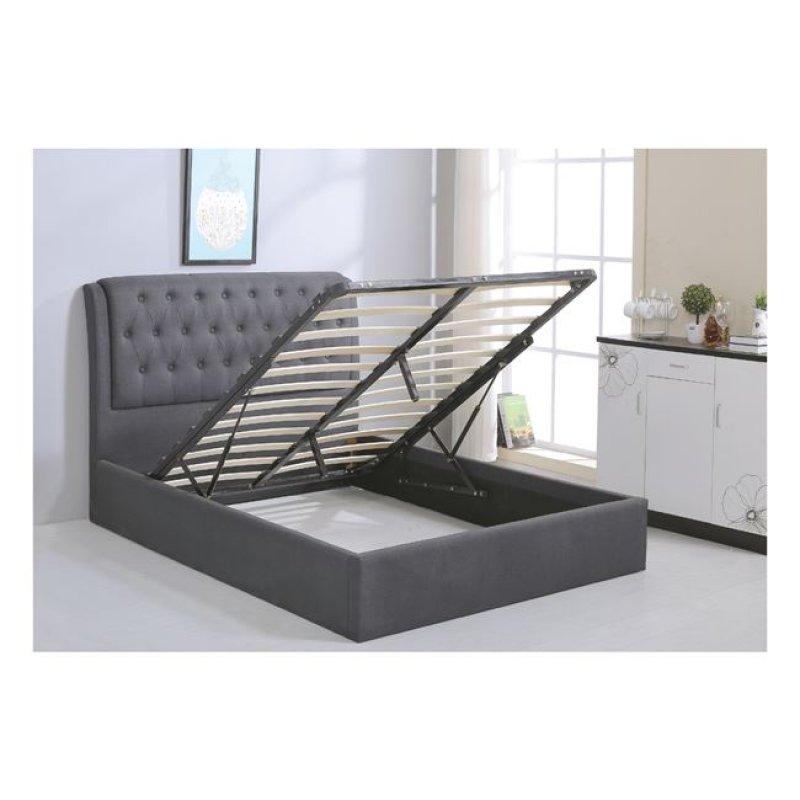 """Κρεβάτι """"MAXWELL"""" διπλό με αποθηκευτικό χώρο από ύφασμα σε χρώμα γκρι 166x221x104"""