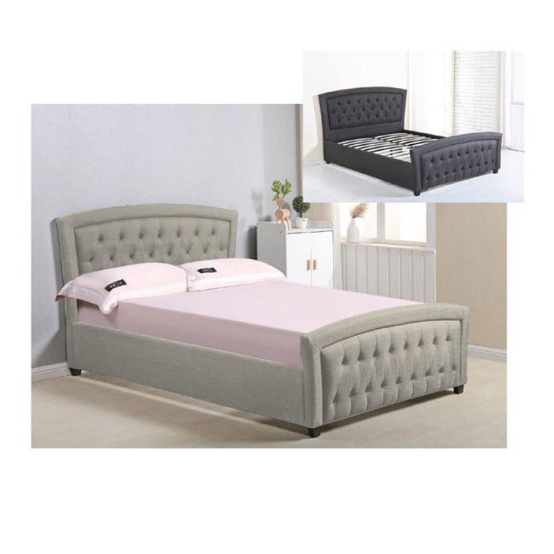 """Κρεβάτι """"ROMEO"""" διπλό από ύφασμα σε χρώμα μπεζ 168x212x104"""