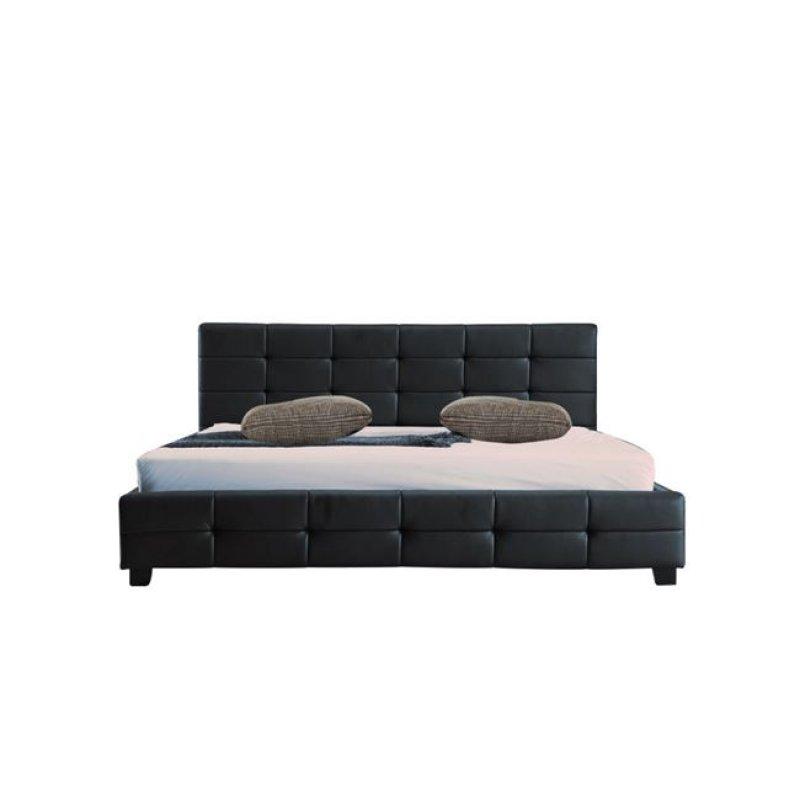 """Κρεβάτι """"DREAM"""" διπλό από τεχνόδερμα σε μαύρο χρώμα 158x218x95"""