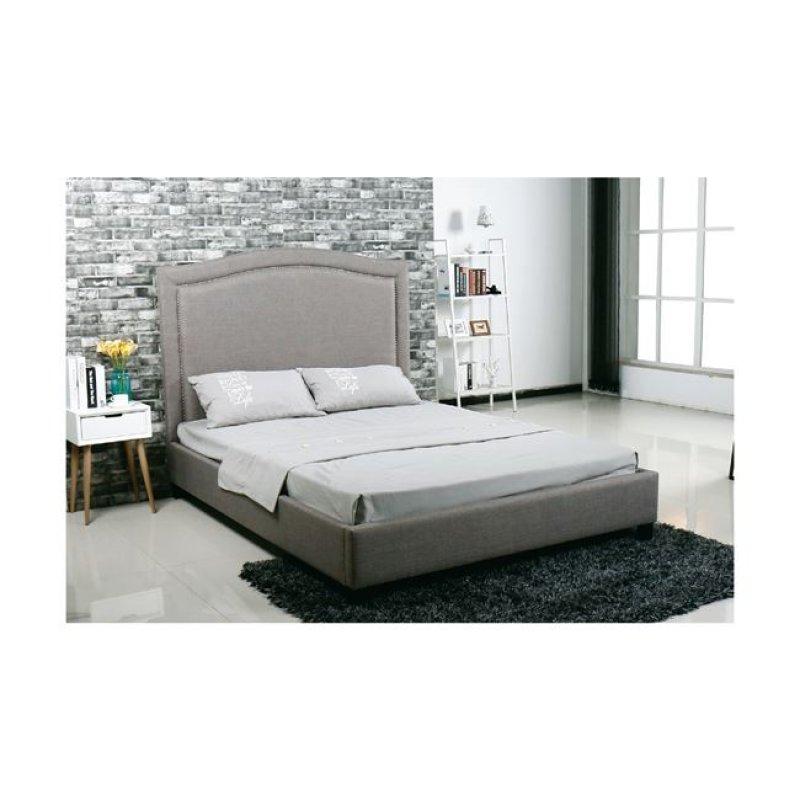 """Κρεβάτι """"SPENCER"""" διπλό από ύφασμα σε ανοιχτό γκρι χρώμα 170x216x140"""