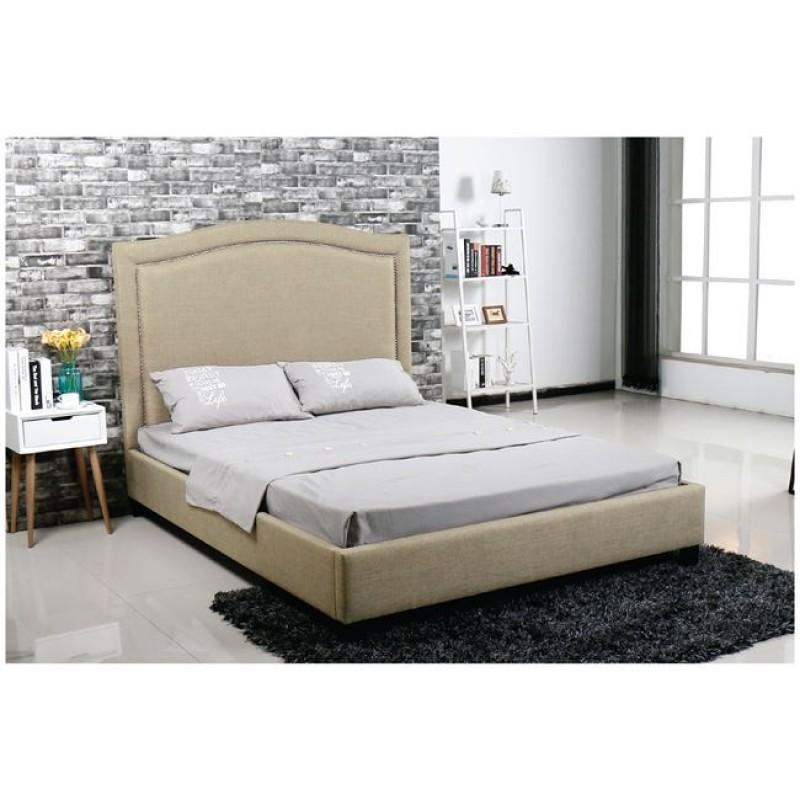 """Κρεβάτι """"SPENCER"""" διπλό από ύφασμα σε χρώμα μπεζ 170x216x140"""