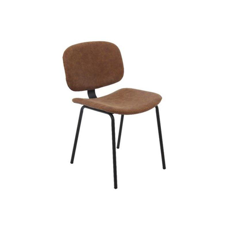 """Καρέκλα """"BARLEY"""" μεταλλική-pu σε vintage καφέ χρώμα 47x54x79"""